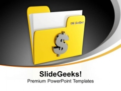Yellow Folder Icon With Dollar Sign Business PowerPoint Templates And PowerPoint Themes 1112