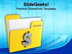 Yellow Folder Icon With Dollar Signs PowerPoint Templates And PowerPoint Themes 0912