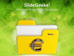 Yellow Folder Icon With Euro Sign Internet PowerPoint Templates And PowerPoint Themes 1112