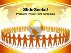 Yellow People Holding Hands Around Globe PowerPoint Templates And PowerPoint Themes 0612