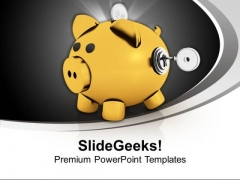Yellow Piggy Bank With Key Closed Savings PowerPoint Templates Ppt Backgrounds For Slides 0213