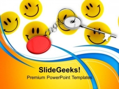 Yellow Smileys With Key Chain PowerPoint Templates Ppt Backgrounds For Slides 0213