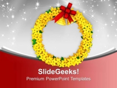 Yellow Wreath With Golden Bells Decoration PowerPoint Templates Ppt Backgrounds For Slides 0113