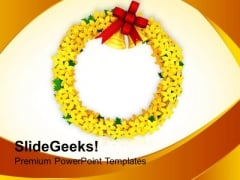 Yellow Wreath With Golden Bells Events PowerPoint Templates Ppt Backgrounds For Slides 1212