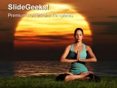 Yoga Sunrise Health PowerPoint Themes And PowerPoint Slides 0411