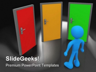 front_of_three_doors_future_powerpoint_template_1110_title