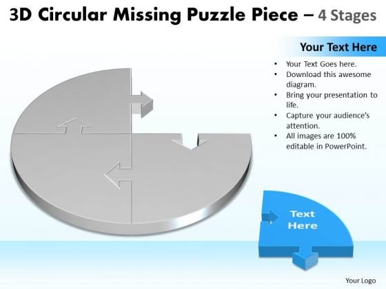 3d Circular Puzzle Showing Missing Piece Diagram