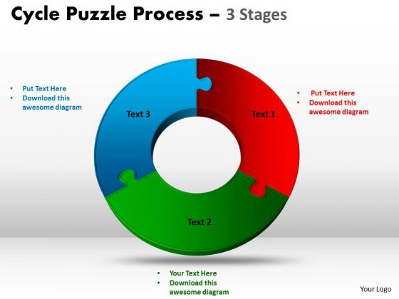 Business Cycle Diagram 3 Stage Cycle Diagram Puzzle Process Business Diagram