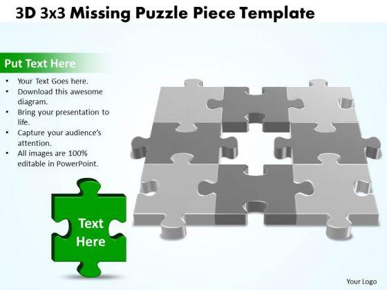 Business Cycle Diagram 3d 3x3 Missing Puzzle Piece Business Diagram