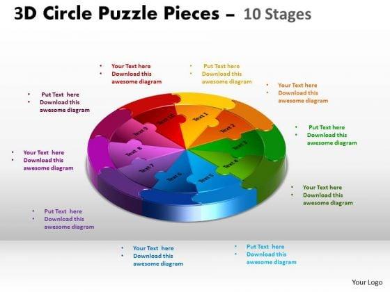 Business Cycle Diagram 3d Circle Puzzle Diagram 10 Stages Slide Layout Sales Diagram