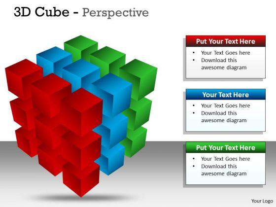 Business Cycle Diagram 3d Cube Perspective Diagram 3 Business Diagram