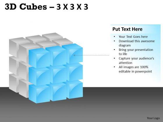Business Cycle Diagram 3d Cubes 3x3x3 Strategy Diagram