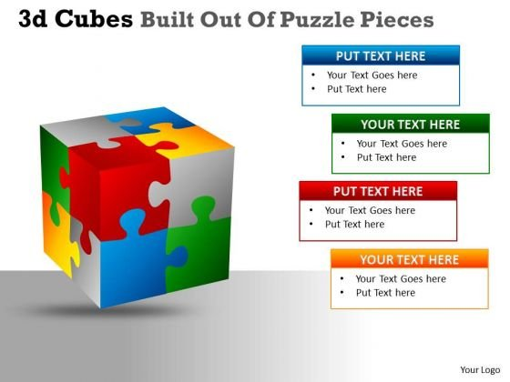 Business Cycle Diagram 3d Cubes Built Out Of Puzzle Pieces Consulting Diagram