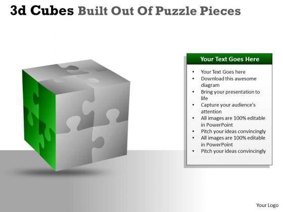 Business Cycle Diagram 3d Cubes Built Out Of Puzzle Pieces Strategy Diagram