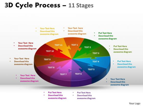 Business Cycle Diagram 3d Cycle Process Flow Diagram 11 Stages Consulting Diagram
