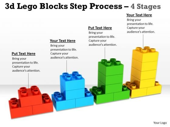 Business Cycle Diagram 3d Lego Blocks Step Process 4 Stages Sales Diagram