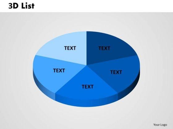Business Cycle Diagram 3d List Pie 2 Business Diagram