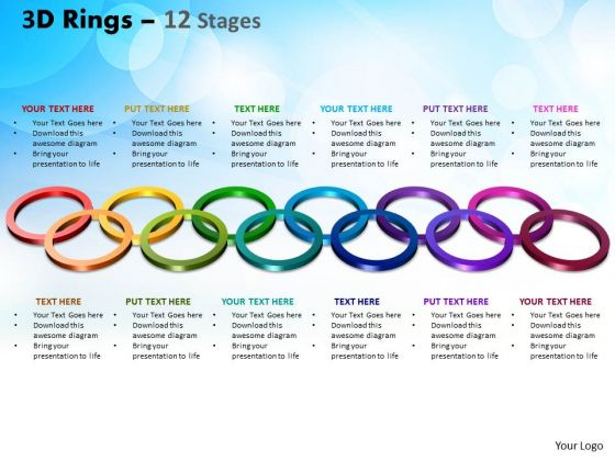 Business Cycle Diagram 3d Rings 12 Stages Consulting Diagram