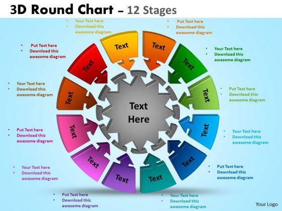 Business Cycle Diagram 3d Round Chart 12 Stages Diagram Business Framework Model