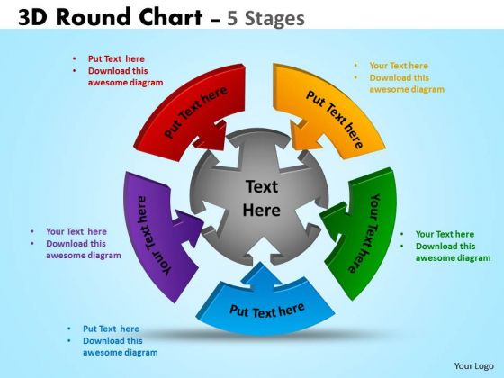Business Cycle Diagram 3d Round Chart 5 Stages Diagram Business Diagram