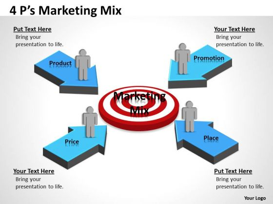Business Cycle Diagram 4 Ps Target For Marketing People Business Diagram