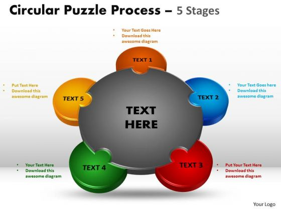 Business Cycle Diagram 5 Stages Circular Diagram Puzzle Process Sales Diagram