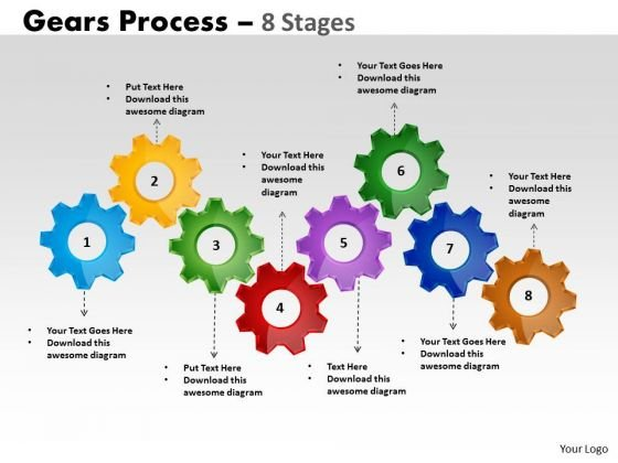 Business Cycle Diagram 8 Stages Gears Process Marketing Diagram