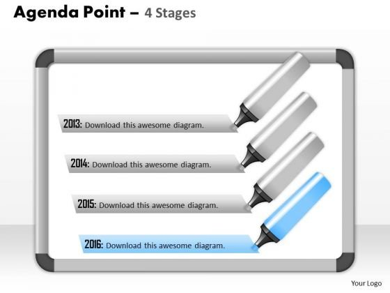 Business Cycle Diagram Agenda Point 4 Stages Sales Diagram