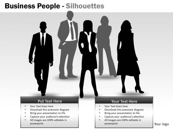 Business Cycle Diagram Business People Silhouettes Marketing Diagram