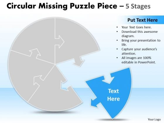 Business Cycle Diagram Circular Missing Puzzle Piece 5 Stages Marketing Diagram