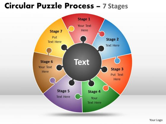 Business Cycle Diagram Circular Puzzle Process 7 Stages Consulting Diagram