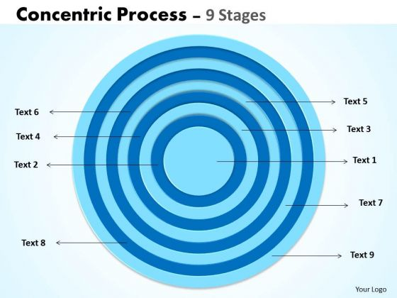 Business Cycle Diagram Concentric Process 9 Stages Sales Diagram