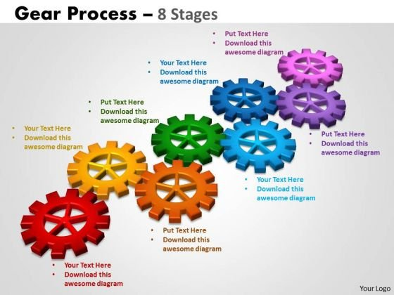 Business Cycle Diagram Gears Process 8 Stages Business Framework Model