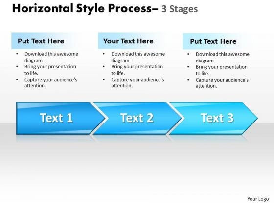 Business Cycle Diagram Horizontal Style 3 Stages Style 1 Strategy Diagram