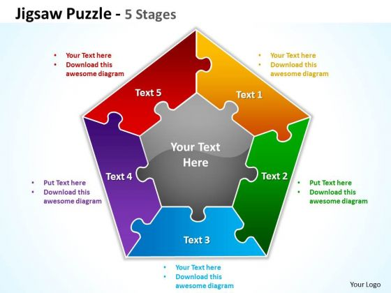 Business Cycle Diagram Jigsaw Puzzle 5 Stages Strategic Management