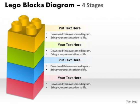 Business Cycle Diagram Lego Blocks Diagram 4 Stages Business Diagram