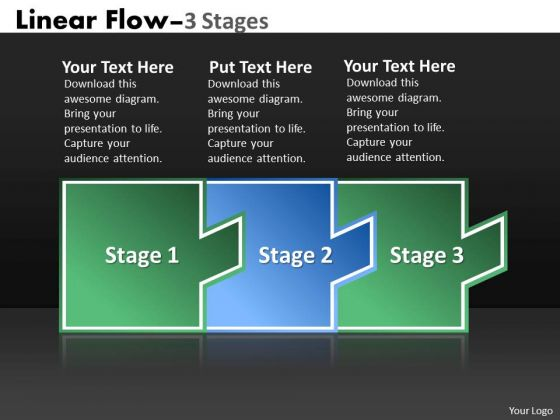 Business Cycle Diagram Linear Flow 3 Stages Business Diagram