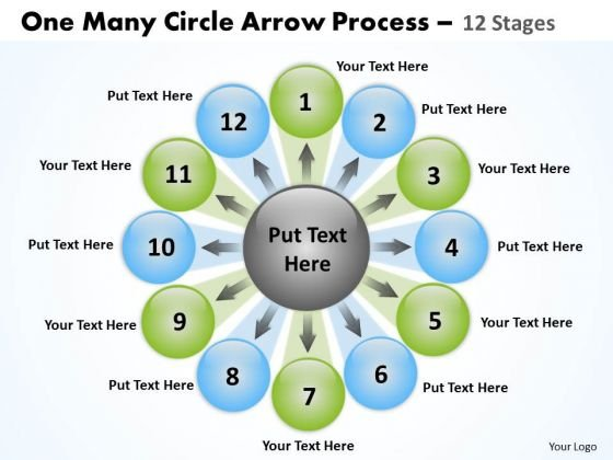 Business Cycle Diagram One Many Circle Arrow Process 12 Stages Marketing Diagram