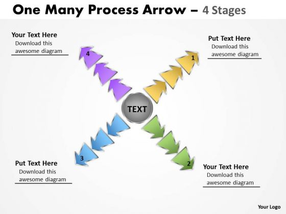 Business Cycle Diagram One Many Process Arrow 4 Stages Consulting Diagram