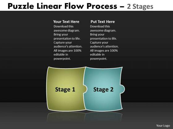 Business Cycle Diagram Puzzle Linear Flow Process 2 Stages Strategic Management