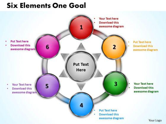 Business Cycle Diagram Six Elements One Goal Sales Diagram