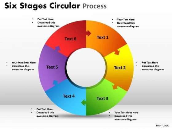 Business Cycle Diagram Six Stages Circular Process Marketing Diagram