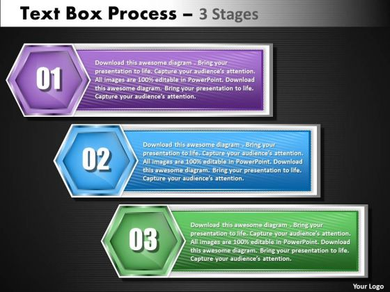 Business Cycle Diagram Text Boxe Process 3 Step Strategy Diagram
