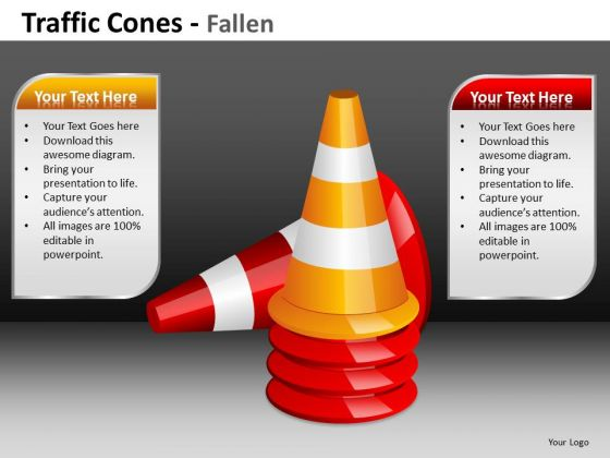 Business Cycle Diagram Traffic Cones Fallen Ppt Marketing Diagram