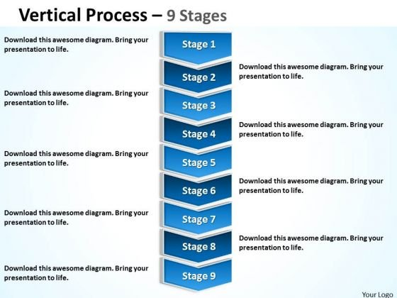 Business Cycle Diagram Vertical Process 9 Stages Consulting Diagram