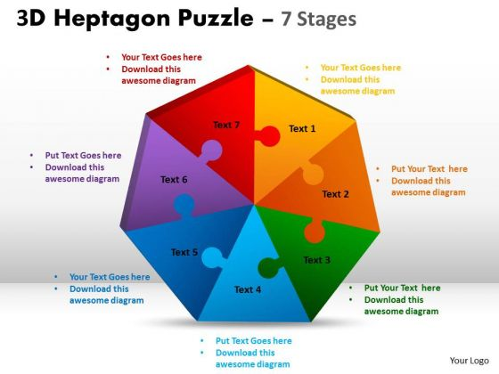 Business Diagram3d Heptagon Puzzle Diagram Process 7 Stages Business Cycle Diagram