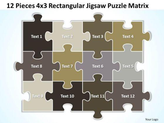 Business Diagram 12 Pieces 4x3 Rectangular Jigsaw Puzzle Matrix Strategy Diagram