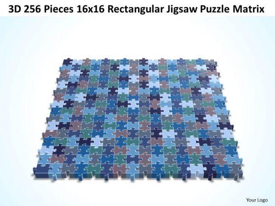 Business Diagram 3d 256 Pieces 16x16 Rectangular Jigsaw Puzzle Matrix Sales Diagram