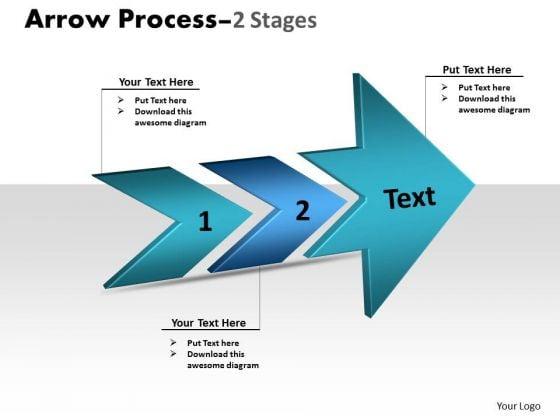 Business Diagram 3d Arrow Process 2 Stages