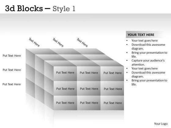 Business Diagram 3d Blocks Style Mba Models And Frameworks